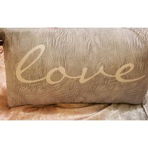 """Grey and Pink """"Love"""" Lumbar Pillow"""